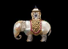 Baroque Pearl, Gemstone, Diamond, Platinum and Gold 'Elephant' Brooch, circa 1957