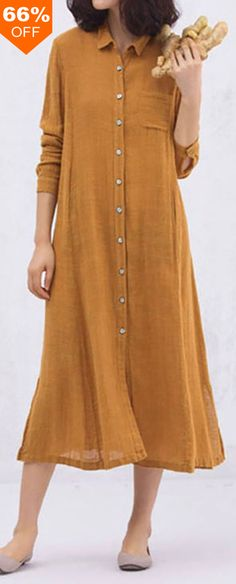 A well-shaped, nicely-draped shirt-dress of cotton will help keep a gal cool & comfortable in hot weather. This versatile frock can be belted or embellished with a long necklace. Trendy Dresses, Nice Dresses, Casual Dresses, Casual Outfits, Fashion Outfits, Dress Shirts For Women, Clothes For Women, Mode Hijab, Kurta Designs