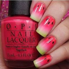 cute, diy, girl, hand, melon, nailart, nails, red, watermelon, o.p.i.