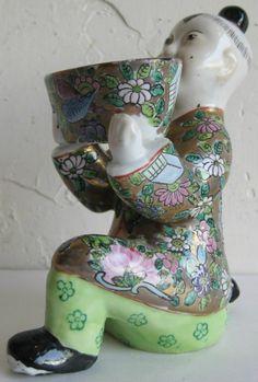 Fine Old Chinese Famille Rose Porcelain Kneeling Boy Censer Figurine Statue (a)