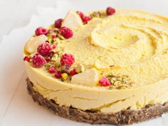 Beautiful raw vegan lemon cheesecake is a tasty and healthy dessert. It's gluten-free and free of refined sugar.