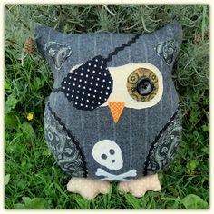 Pinstripe Pirate Owl.  Owl pillow.  Owl cushion.  Owl plushie. Etsy.com