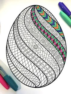 Swirl Easter Egg  PDF Zentangle Coloring Page