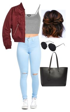 """Untitled #66"" by natalie-nunez80 on Polyvore featuring Topshop and Yves Saint Laurent"
