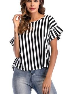 Eymoiy Women Flare Sleeve Chiffon Casual Blouse Top Shirt with Vertical Stripe Loose Fit Daily and Working Latest Tops Fashion, Casual Outfits, Fashion Outfits, Womens Fashion, Style Feminin, Ruffle Swimsuit, Ruffle Dress, Bollywood Dress, Mode Plus