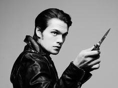 He looks like a Greaser from The Outsiders! Black leather jacket, switchblade, and all! Teen Wolf Boys, Teen Wolf Cast, Keahu Kahuanui, Tyler Shields, Max Carver, Meninos Teen Wolf, Charlie Carver, Ryan Kelly, Dylan Sprayberry
