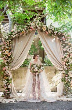 Blush Wedding Dress | Galia Lahav | Israel Designer | Floral Lace Wedding Gown with Applique | Open Back Dress | Wedding Hair Updo | Blush Lace | Lily Rose