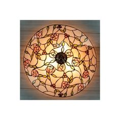 Blue Flowers Accented Three Lights Tiffany Glass Shade Flush Mount