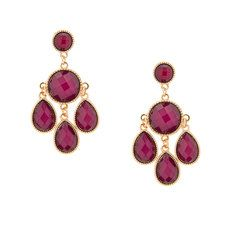 Berry Round and Teardrop Glitter Stone Chandelier Drop Earrings