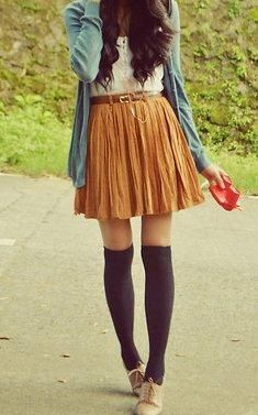 high rise skirt with belt, knee socks and cardigan