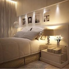 Above bed lighting shelf idea instead of a headboard - What to use instead of a headboard ...