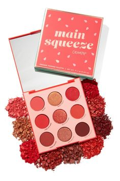 Colourpop Main Squeeze red palette with 5 mattes, 4 metallics, and ALL red shadows! Ranging from true reds, to corals and crimson, you'll be looking like a spicy mami all season. Colourpop Eyeshadow Palette, Colourpop Cosmetics, Makeup Cosmetics, Eyeshadows, Morphe, Lipsticks, Colour Pop, Skin Makeup, Eyeshadow Makeup