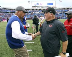 49ers vs. Bills:     October 16, 2016  -  45-16, Bills  -    Buffalo Bills head coach Rex Ryan, left, shakes  hands with San Francisco 49ers head coach  Chip Kelly after an NFL football game on  Sunday, Oct. 16, 2016, in Orchard Park, N.Y.  Buffalo won 4516. (AP Photo/Bill Wippert)