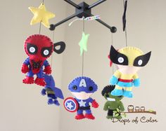 Baby Mobile - Baby Crib Mobile - Super Hero Mobile - Nursery Super Heroes Mobile (You Pick The Super Heroes of your choice) by dropsofcolorshop on Etsy https://www.etsy.com/listing/105664790/baby-mobile-baby-crib-mobile-super-hero