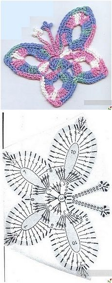 Crochet butterfly diagram