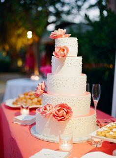California Coral Wedding from Meg Smith Photography Coral Wedding Cakes, Elegant Wedding Cakes, Pretty Cakes, Beautiful Cakes, Creative Wedding Cakes, Peach Cake, Mod Wedding, Dream Wedding, Wedding Navy