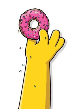 The Simpsons Homer grabbing his pink doughnut cartoon clipart pop culture 90s 2000s