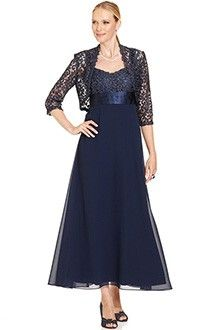 A-Line/Princess Straps Ankle-length Lace Mother of the Bride Dress