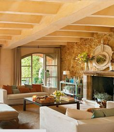 The stone wall, fireplace and ceiling
