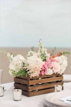 diy paint stir stick centerpiece | flower box idea | diy wedding | wedding reception | #weddingchicks