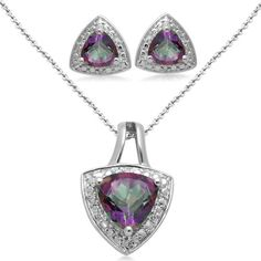 Sterling Silver Trillion Mystic Topaz and Diamond Ring, Pendant Necklace, Earrings Box Set, Size 7 Earring Box, Mystic Topaz, Jewelry Sets, Pendant Necklace, Gemstones, Sterling Silver, My Style, Diamond, Earrings