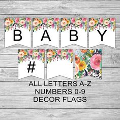 075 / Baby Shower / Decoration / Game / Sign / Floral / Shabby Chic / Bunting / Banner / Decoration / Decor
