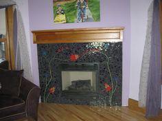 Mosaic tile #fireplace                        #mosaic #art