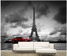 13.12$  Watch here - http://aliade.shopchina.info/go.php?t=32731802263 - Home Decoration custom photo murals Paris Eiffel Tower in black and white color car europe wallpaper  #buymethat