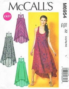 McCalls Sewing Pattern 6954 Misses Size 16-26 Easy Sleeveless Summer Dress Racer Back