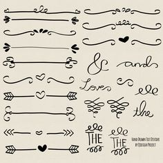 BUY2GET1FREE- Hand drawn doodle text divider, swirly, clip art for scrapbooking…