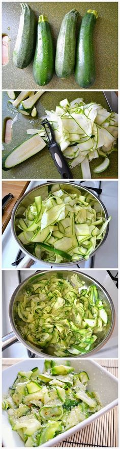 Ingredients 4 medium zucchini 1 Tbsp olive oil to taste salt & pepper ¼ tsp red pepper flakes ¼ cup parmesan cheese METHOD - Shave the zucchini to the core, then heat the oil in a pan (medium heat), sautee zucchini (7 - 10mins) or until bright green, season with salt, pepper and red pepper flakes. Remove from pan and place in bowls; sprinkle with Parmesan cheese before eating. ENJOY