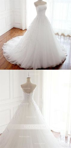 A Line White Strapless Open Back Tulle Wedding Dresses Best Bride Gown - Wedding Gowns Platform Inexpensive Bridesmaid Dresses, Affordable Wedding Dresses, White Wedding Dresses, Cheap Wedding Dress, Wedding White, Lace Wedding, Modest Wedding, Wedding Shoes, Wedding Unique