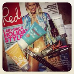 Red magazine and a goodie bag