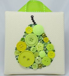 Button Art, Painted With Buttons  Juicy Pear - Button Art, Vintage Buttons by PaintedWithButtons, $40.00