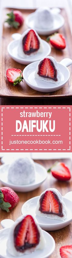 Strawberry Daifuku - A popular spring dessert, Strawberry Mochi (Ichigo Daifuku) is a soft and chewy mochi stuffed with fresh juicy strawberry and sweet red bean paste. Indulge yourself with this beautiful and delicious Japanese delicacy! Easy Japanese Recipes, Japanese Dishes, Japanese Food, Asian Recipes, Japanese Desserts, Sushi Recipes, Radish Recipes, Game Recipes, French Recipes
