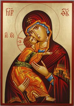 Vladimir Mother of God Hand-Painted Byzantine Icon
