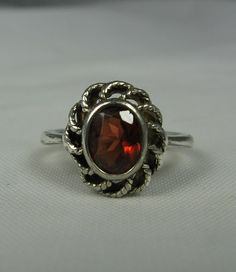 Vintage Garnet Ring 75 Sterling Silver by TheFashionDen on Etsy, $19.00