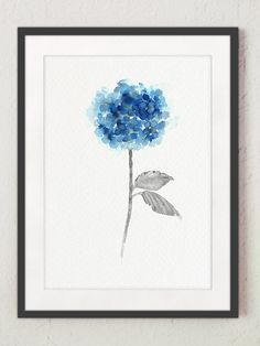 Hortensia bleu lot de 3 peinture aquarelle par ColorWatercolor