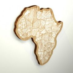 Map of Africa cut from wood.  Could make a giant one out of plywood and paint out each of the countries.
