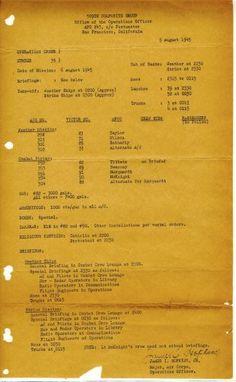 Imagen proporcionada por el Museo de la Segunda Guerra Mundial en Boston muestra la orden de operaciones para Hiroshima, con fecha del 5 de agosto de 1945. (Museo de la Segunda Guerra Mundial en Boston vía AP)