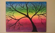 Abstract Acrylic Art Painting Rainbow Tree by KJArtStudio on Etsy, $125.00 | best stuff