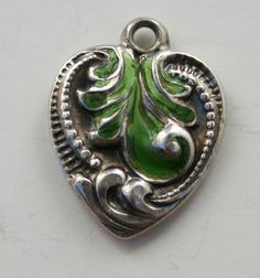 Vintage Sterling Silver Puffy Heart Charm Repousse Fancy Design with Enamel | eBay