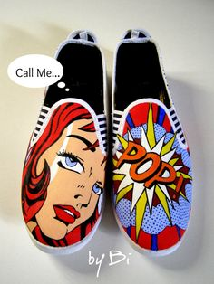 Custom hand painted adult size shoes Pop art style to order