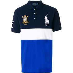 Polo Ralph Lauren crest embroidered polo shirt ($235) ❤ liked on Polyvore featuring men's fashion, men's clothing, men's shirts, men's polos, blue, mens long sleeve sport shirts, men's cotton short sleeve shirts, men's cotton polo shirts, mens slim fit shirts and mens long sleeve shirts