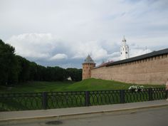 Novgorod Kremlin (also Detinets) stands on the left bank of the Volkhov River in Veliky Novgorod about two miles north of where it empties out of Lake Ilmen.