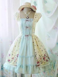 Sweet Flower Printed Rococo Lolita Dress