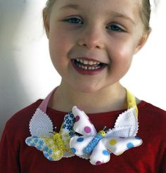 Happy Butterfly Necklet for little girls - by MissAdorable on madeit Fabric Butterfly, Girls Accessories, Happy Day, Etsy Store, Headbands, Little Girls, Pony, Crochet Earrings, Hand Painted