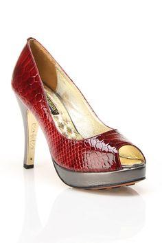 Open Toe Heels In Red.