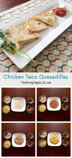 Chicken Taco Quesadillas: so easy, filling and delicious. Serve with fresh blender salsa and light sour cream. All you need is tortillas, chicken, shredded cheese, refried beans, and taco seasoning.