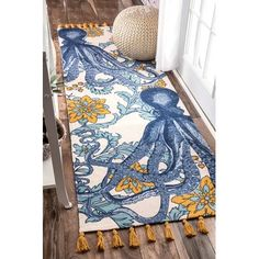 Shop the Thomas Paul Floral Handmade Flatweave Cotton Blue/Yellow Area Rug at Perigold, home to the design world's best furnishings for every style and space. Plus, enjoy free delivery on most items. Octopus Rug, Octopus Decor, Nautical Rugs, Nautical Theme, Sweet Home, Yellow Area Rugs, Yellow Rug, Rugs Usa, Barndominium